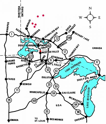 map to Nestor Falls